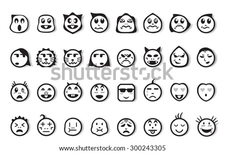 Cartoon faces with difference emotions. Faces icons