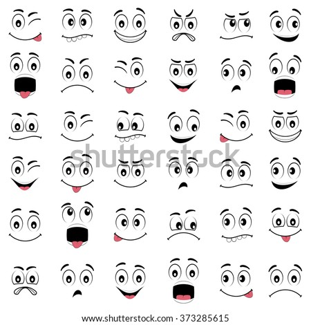 Cartoon faces with different expressions, featuring the eyes and mouth, design elements on white background - stock vector