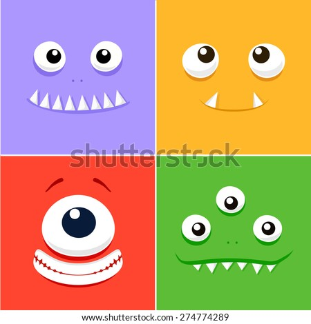 Cartoon faces with emotions v.6 - stock vector
