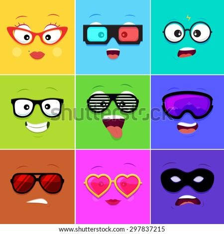 Cartoon faces with emotions v.12 - woman glasses,3d glasses, geek glasses, hipster glasses, club glasses, snowboarding glasses, sunglasses, heart glasses, thief mask - stock vector