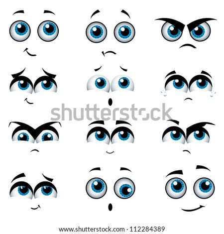 Cartoon faces with various expressions, vector illustration - stock vector
