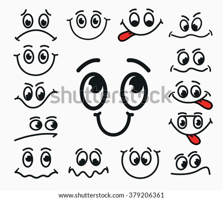 Cartoon facial expression of joy, of sadness, discontent.  Emotions mouth and eyes with tongue. - stock vector