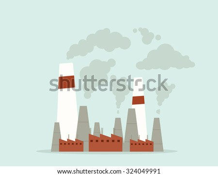 cartoon factory. air pollution - stock vector
