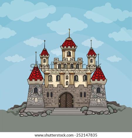 Cartoon fairy tale castle, In blue sky background, vector illustration - stock vector