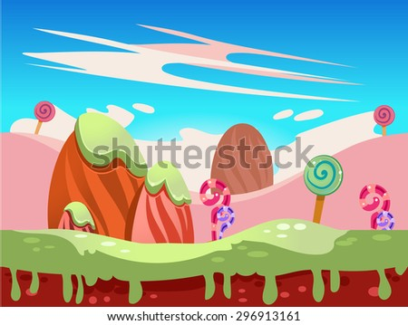 Cartoon fairy tale landscape. Candy land illustration for game background - stock vector