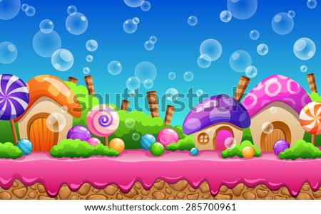 Cartoon fairy tale landscape. Candy land illustration for game design. - stock vector