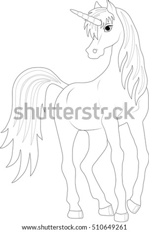 cartoon fairy unicorn, coloring page