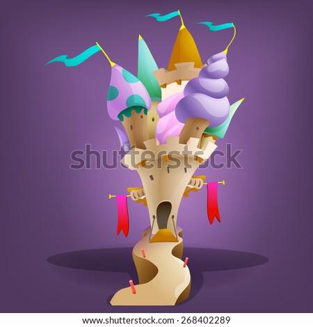 Cartoon fairytale castle. Vector illustration.  - stock vector