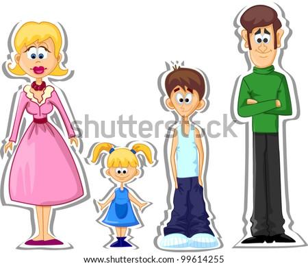 Cartoon family - stock vector