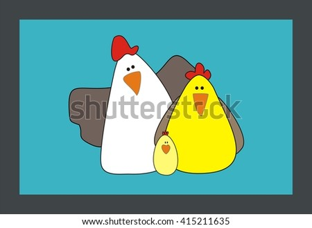 Cartoon Family chicken and rooster vector illustration. Cartoon chicken. Chicken vector. Chicken poster. Chicken vector illustration. Rooster for advertising. For packing  chicken. Chicken logo.  - stock vector