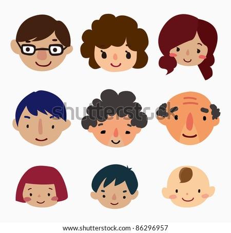 cartoon family face icons - stock vector