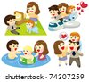 cartoon family icon - stock vector