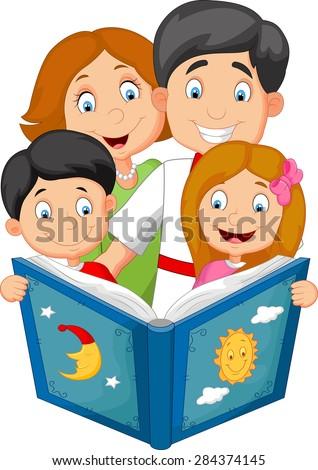 cartoon family read a bedtime story - stock vector