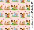 cartoon family seamless pattern - stock vector