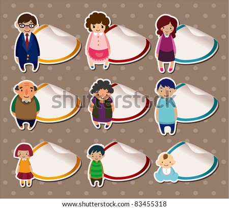 cartoon family Stickers,Label - stock vector