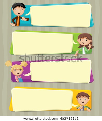 Cartoon family talking with speech bubbles