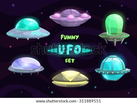 Cartoon fantastic ufo set, vector space collection - stock vector