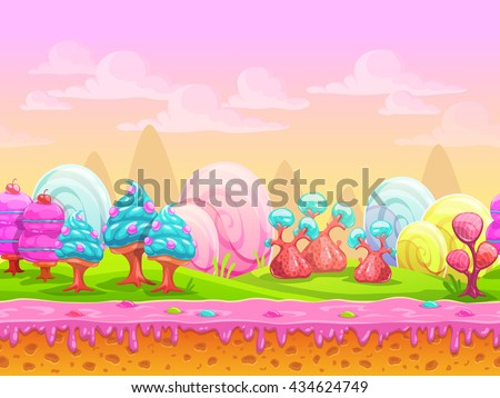 Cartoon fantasy candy land location, sweet world, seamless background with separated layers for parallax effect in game design, vector illustration - stock vector