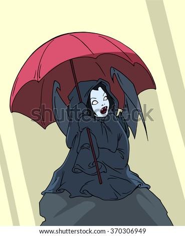 cartoon fantasy illustration of a pretty vampire girl caught under the umbrella in the bright day light - stock vector