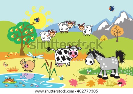 cartoon farm animals : sheep, horse ,cow and pig in the pasture field. Rural landscape . Children illustration