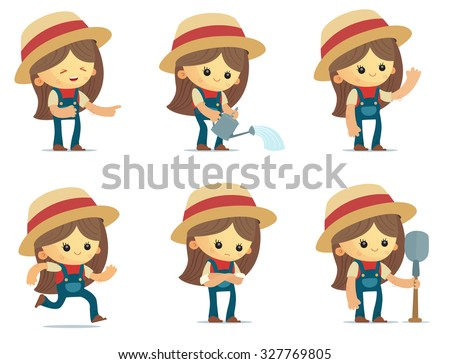 Cartoon Farm Girl - stock vector