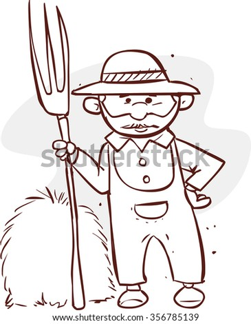 Cartoon farmer holding a rake (black and white) - stock vector