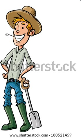 Cartoon Farmer with hat and spade. Isolated  - stock vector