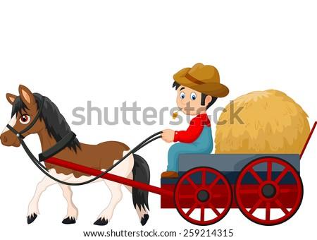 Cartoon farmer with hay cart  - stock vector