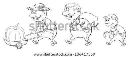 Cartoon: farmers with the harvest of pumpkins, carry on a trolley and carry, black contour on white background. Vector - stock vector
