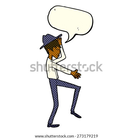 cartoon fashionable man with speech bubble