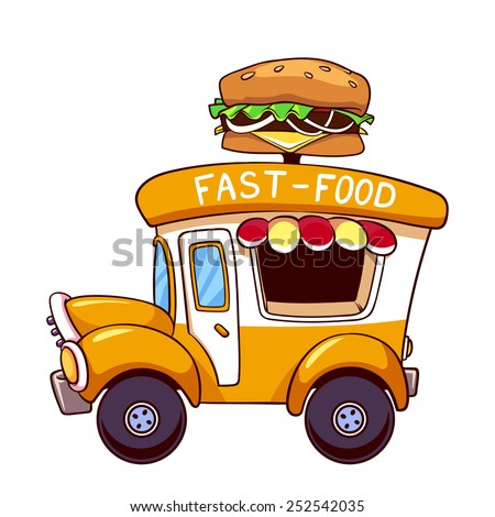 Cartoon fast-food car with a big hamburger on a white background - stock vector