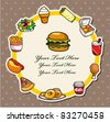 Cartoon fast-food card - stock vector