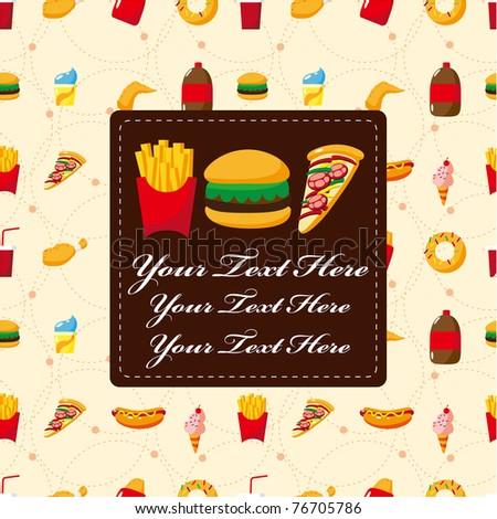 cartoon fast food card - stock vector