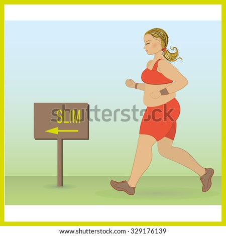 cartoon fat girl jogging, weight loss concept, cardio training, health conscious concept running woman. Vector - stock vector