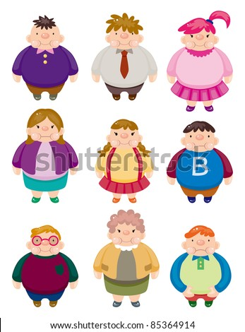 Cartoon Fat people icons - stock vector