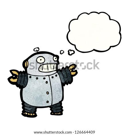 cartoon fat robot - stock vector