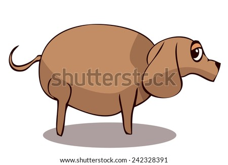 Cartoon Fat Sad Dog, Vector Illustration.  - stock vector