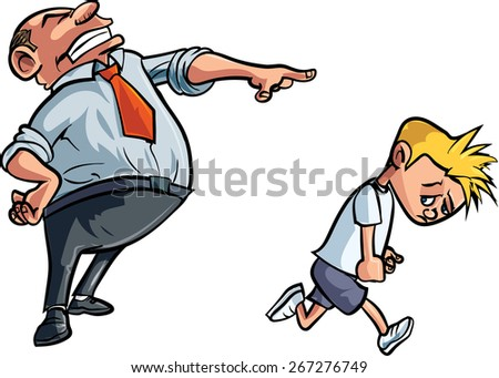 Cartoon father scolding unhappy boy. Isolated
