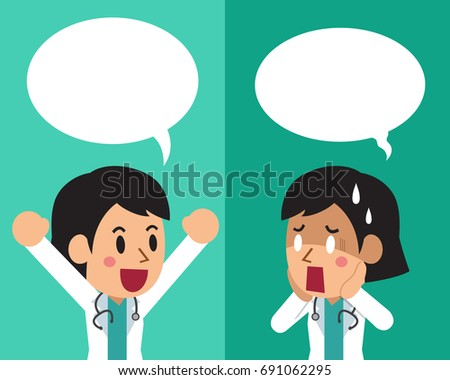 Cartoon female doctor expressing different emotions with speech bubbles