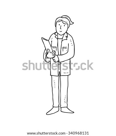 cartoon female doctor isolated on white background - stock vector