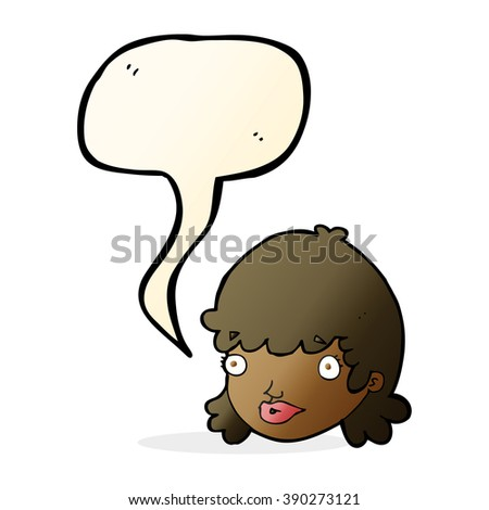 cartoon female face with surprised expression with speech bubble - stock vector