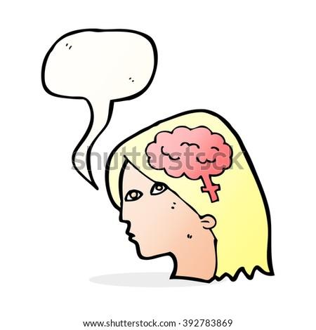 cartoon female head with brain symbol with speech bubble - stock vector