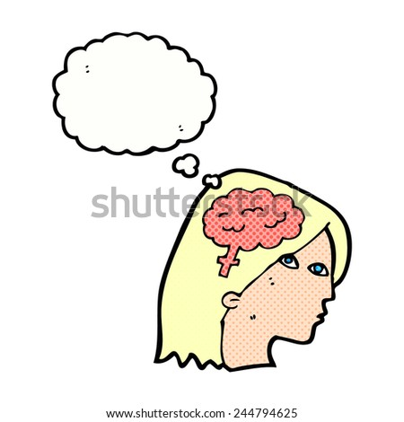 cartoon female head with brain symbol with thought bubble - stock vector