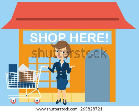 Cartoon female young character in front of the store, along with her shopping cart. - stock vector