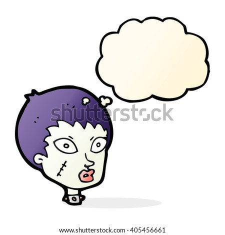 cartoon female zombie head with thought bubble - stock vector
