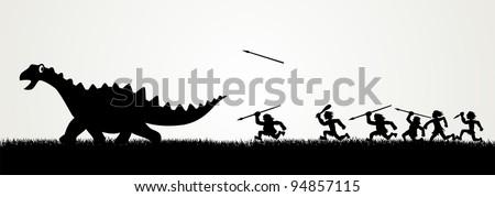 Cartoon figures chasing a dinosaur - stock vector