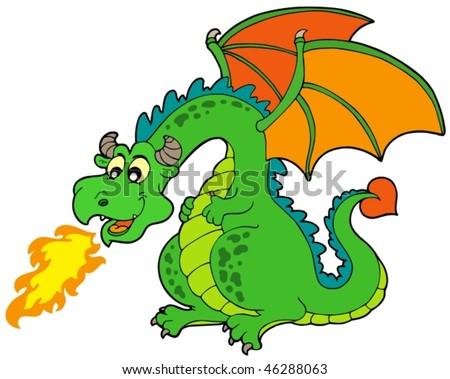 Cartoon fire dragon - vector illustration. - stock vector