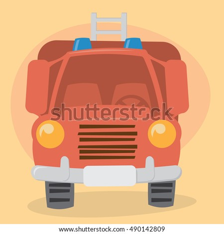 Cartoon Firefighter Truck - front view