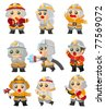 cartoon Fireman icon set - stock photo