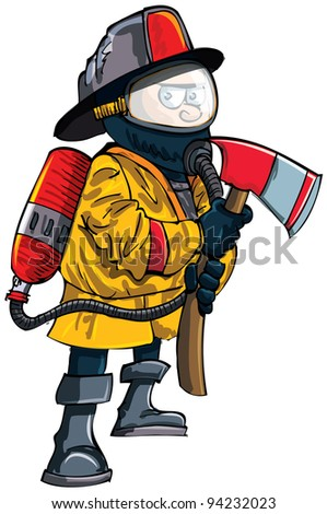 Cartoon fireman in a mask with an axe. Isolated on white - stock vector